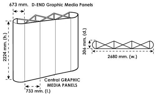 Disegno tecnico del pop up stand 3x3 dritto