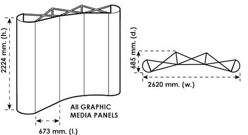 Disegno tecnico del pop up stand 3x3 curvo