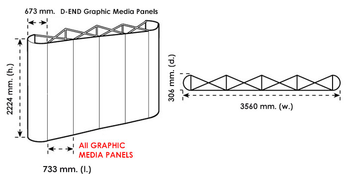 Disegno tecnico del pop up stand 3x4 dritto