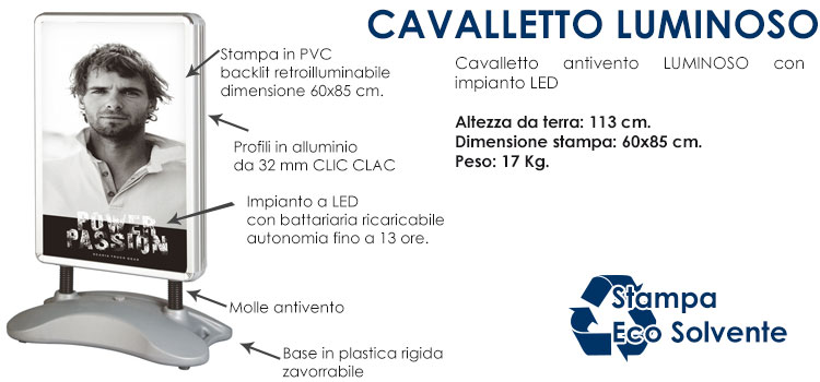 Cavalletto luminoso a LED 60x85 cm