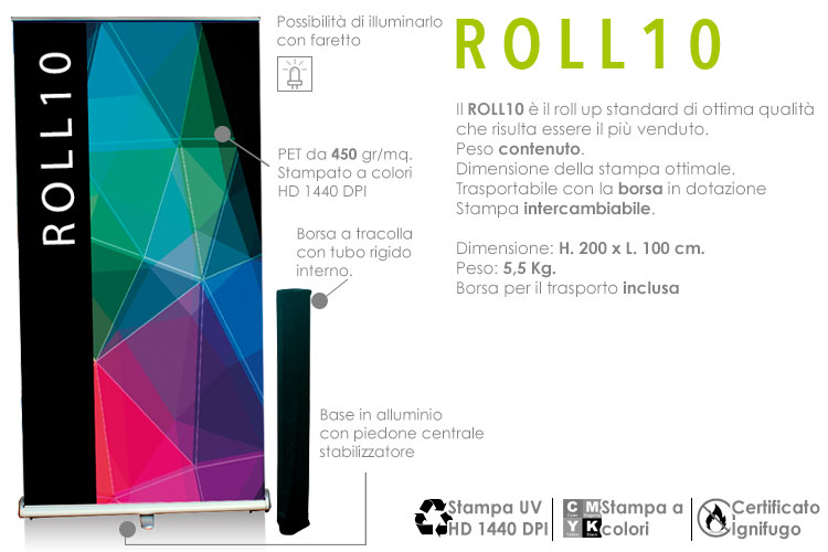 Roll up standard - L. 100 x H. 200 cm.