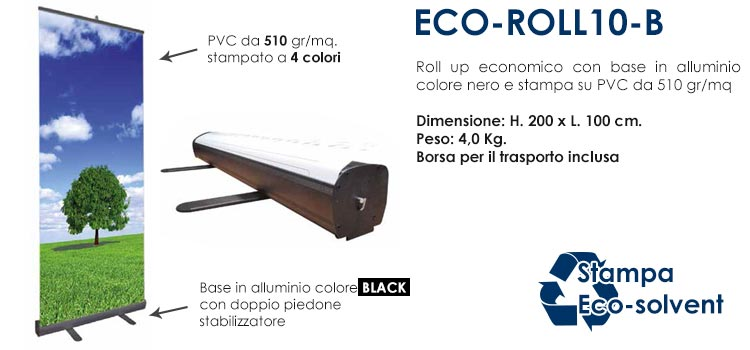 Roll up economico - 200x100 cm con base nera