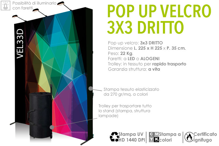 Pop up tessile 3x3 Dritto
