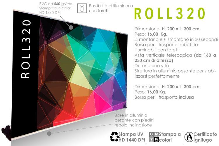 roll up maxi monofacciale H. 230 x L. 300 cm.