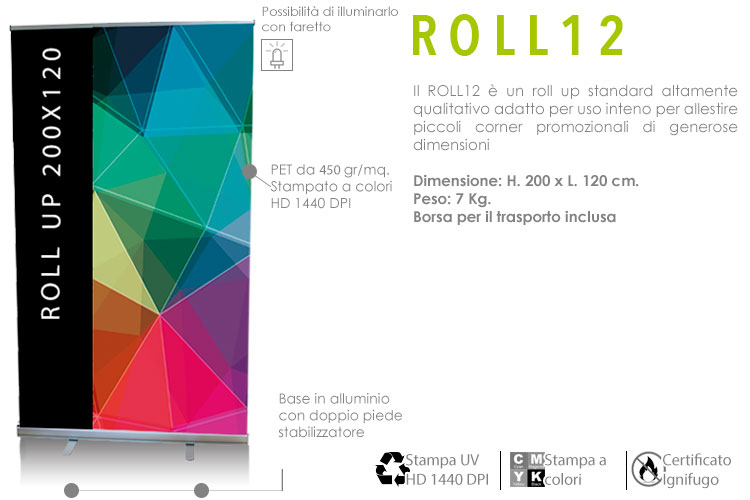 Roll up standard 200x120 cm
