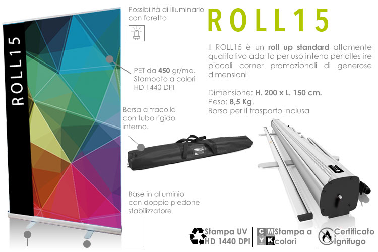 roll up standard 200x150 cm