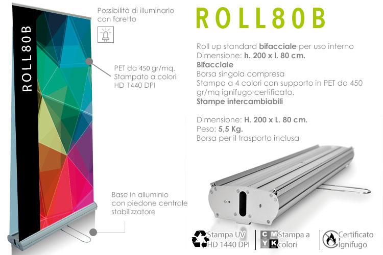 roll up standard bifacciale 200x80 cm - dettaglio tecnico