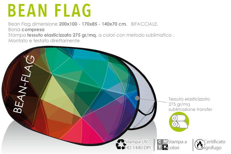 bean flag con stampa in tessuto elasticizzato a colori 270 gr/mq. dimensione 200x100 cm. - 170x85 cm - 140x70 cm.
