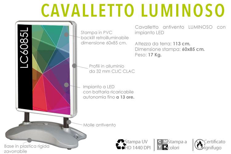 Cavalletto luminoso 60x85 cm con impianto a LED