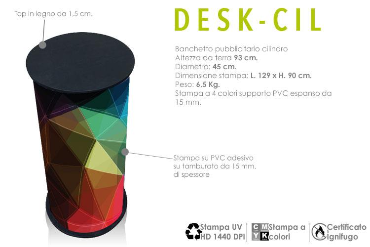 banchetto cilindro porta oggetti diametro 45 mm. con stampa digitale