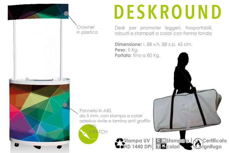 Desk round il desk a forma circolare in ABS con stampa a colori