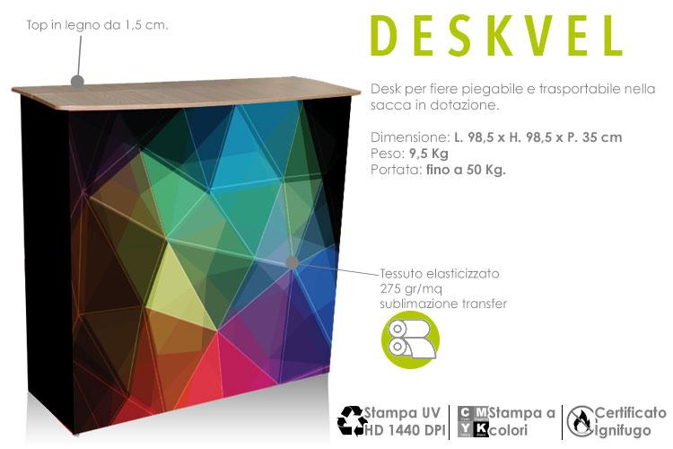 deskvel - il desk con struttura in alluminio e stampa in tessuto elasticizzato