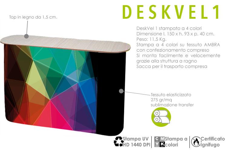 Deskvel1 - banchetto in alluminio con apertura ad ombrello con stampa a colori in tessuto