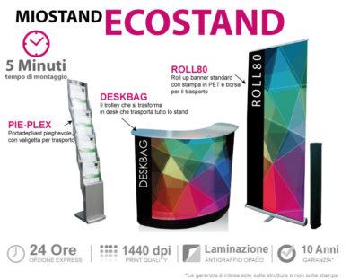ecostand - lo stand portatile composto da deskbag roll up standard e pie-plex