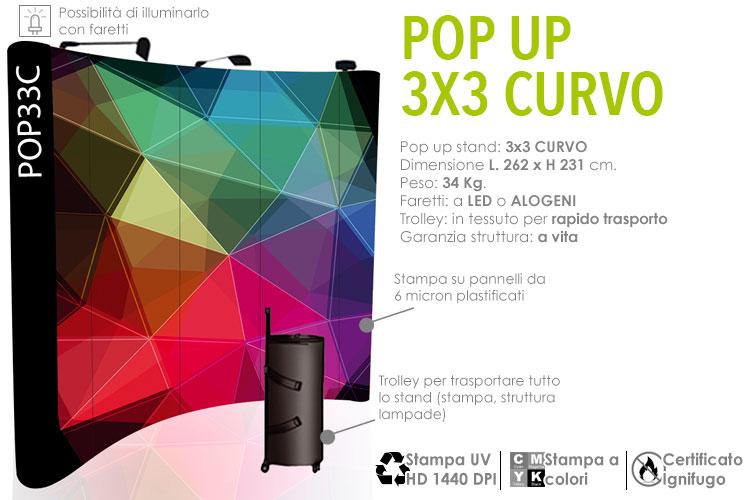 Pop up stand 3x3 curvo