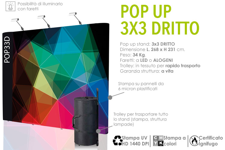 Pop up stand 3x3 dritto