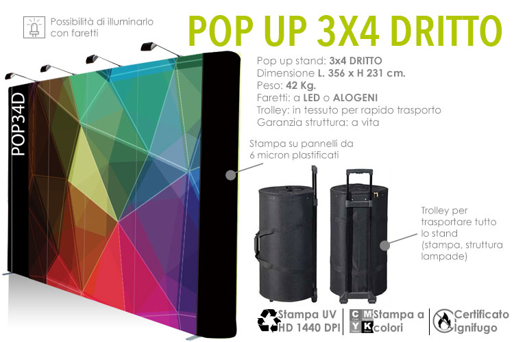 SmartWall - Pop up stand 3x4 dritto