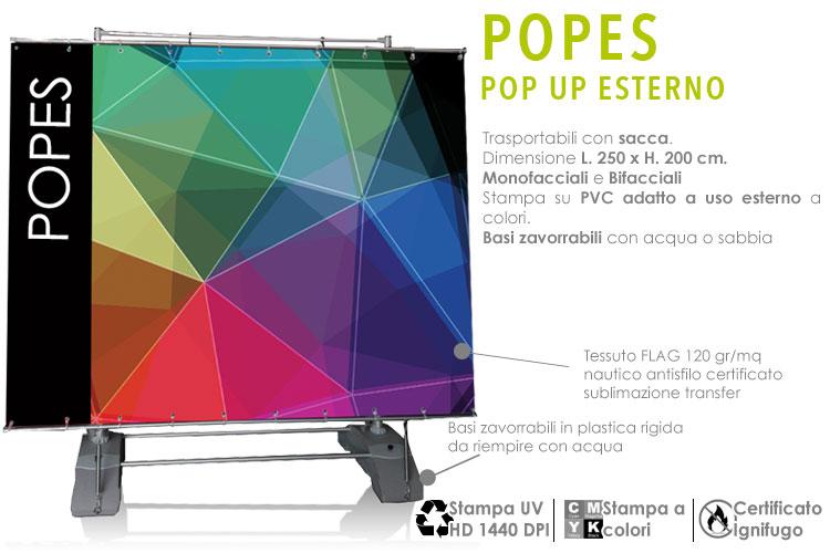 Pop up per esterni con stampa in PVC banner