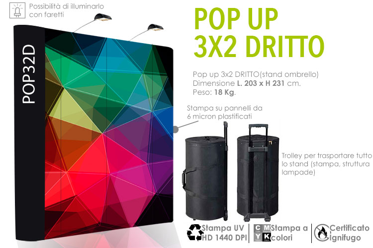 Pop up stand 3x2 dritto
