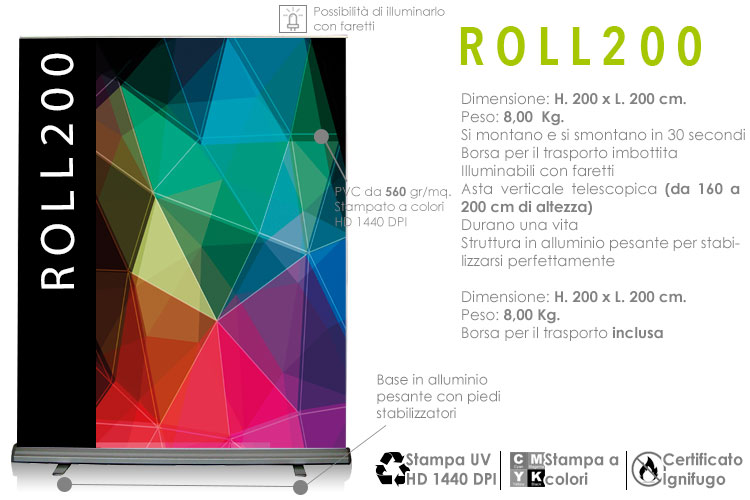 Roll up 200x200 cm.