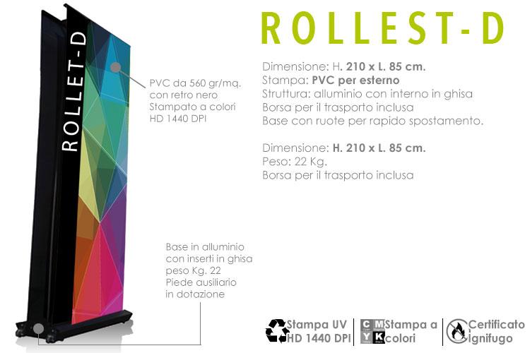 roll up per esterno deluxe - monofacciale o bifacciale - dimensione 210 x 85 cm.