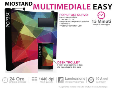 stand multimediale easy trasportabile in valigia