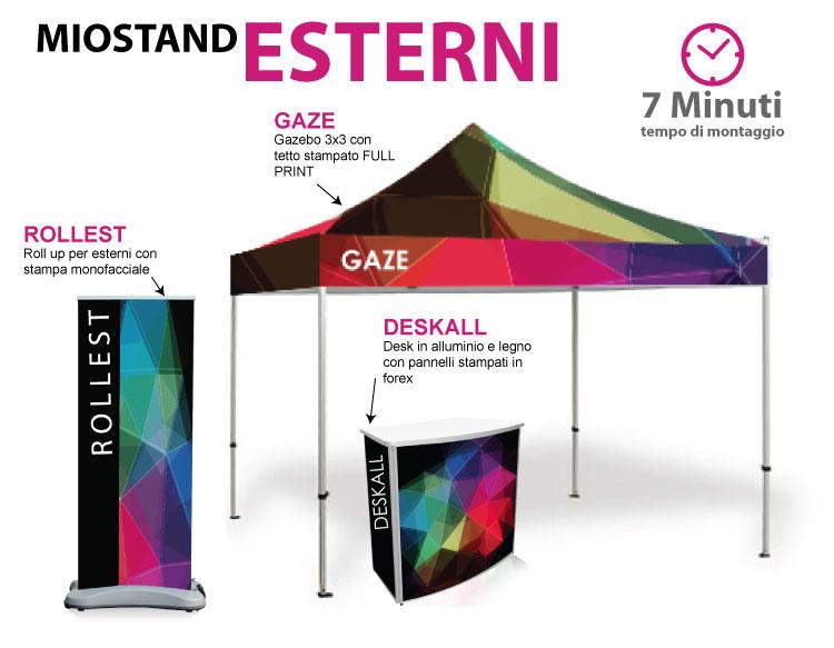 Stand per esterni composto da gazebo 3x3, deskall e roll up per esterni