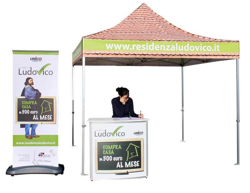 Stand per esterno | Gazebo 3x3 con tetto stampato | Deskall e Roll up per esterno