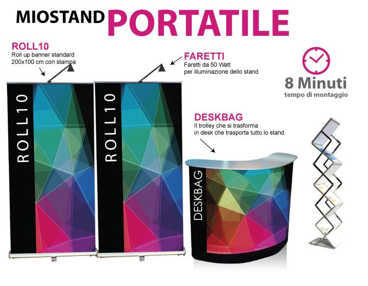 Stand portatili composto da deskbag 2 roll up 200x100 con faretti e portadepliant pieghevole
