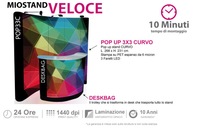 Stand veloce | pop up stand 3x3 con deskbag