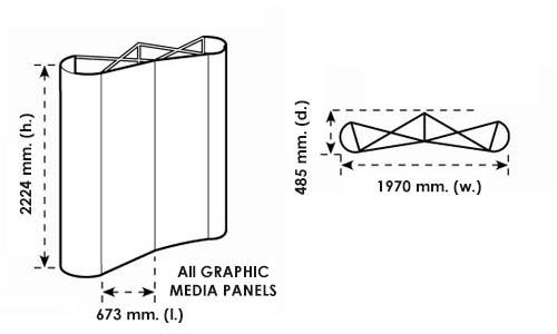 Disegno tecnico dello stand ombrello 3x2 curvo