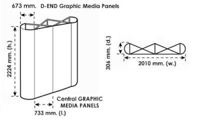 disegno tecnico dello stand pop up 3x2 dritto