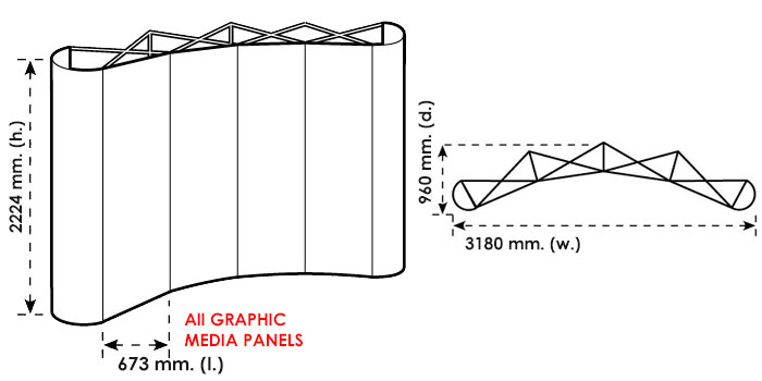 Disegno tecnico del pop up stand 3x4 curvo
