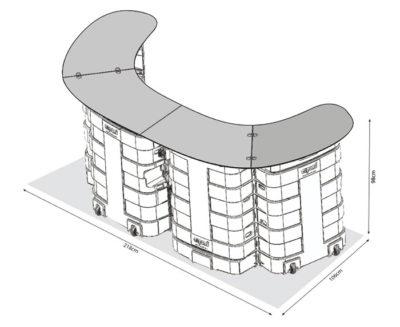Banco reception fiera - deskbag XL - disegno tecnico