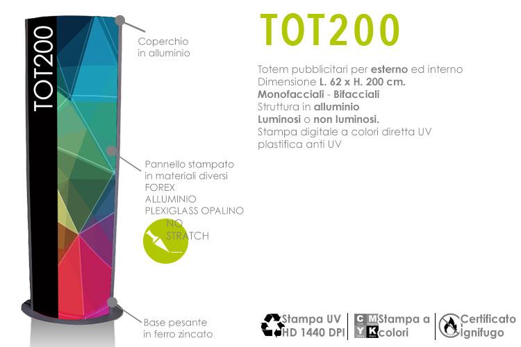 totem pubblicitari H. 200 x L. 62 cm. in alluminio per esterno