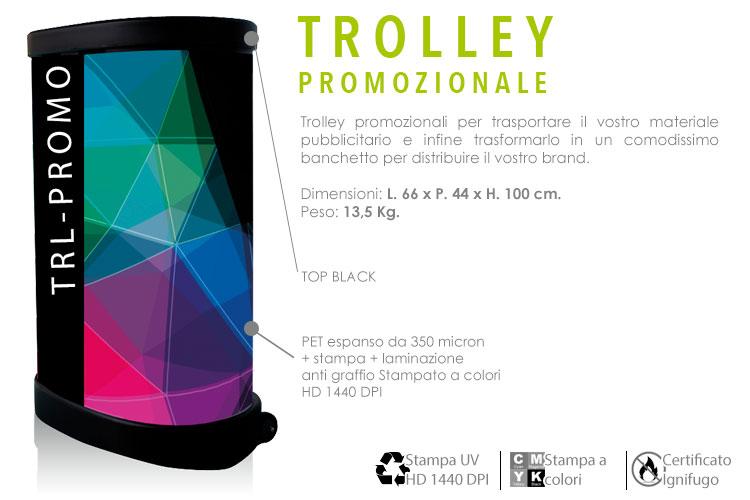 Trolley promozionale - con stampa in PVC espanso a colori e laminato anti graffio