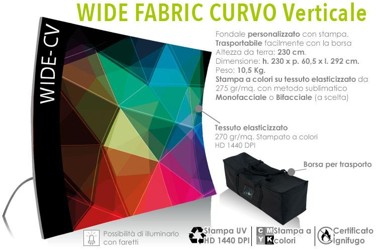 Wide fabric banner curvo verticale - fondale in alluminio con stampa in tessuto elasticizzato