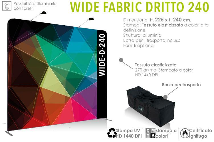 Wide fabric banner dritto L. 240 x H. 225 cm - fondale in alluminio con stampa in tessuto elasticizzato