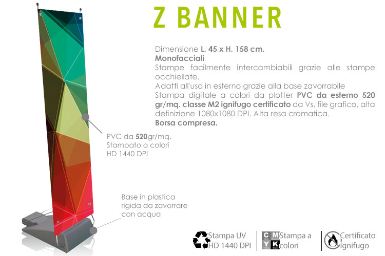 z banner display per esterno con base zavorrabile