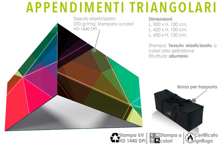appendimenti triangolari con grafica a sospensione su strutture in alluminio