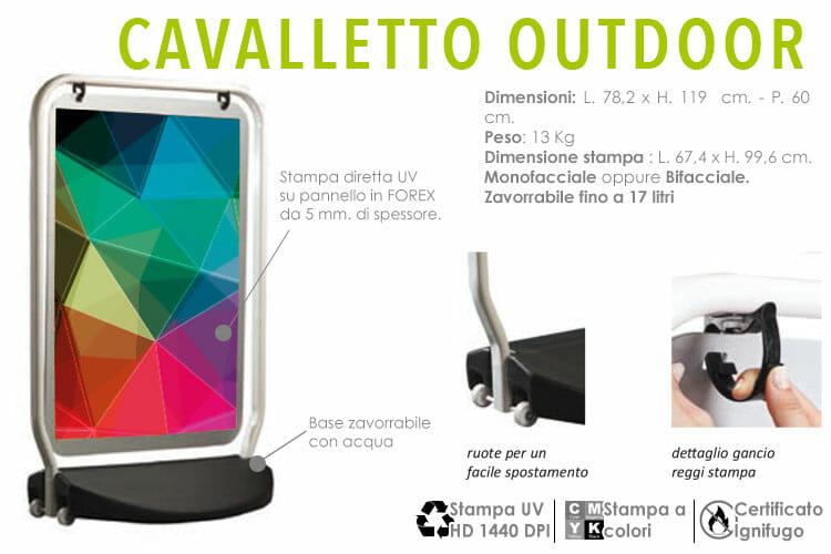cavalletti outdoor con stampa diretta a colori UV su pannello rigido
