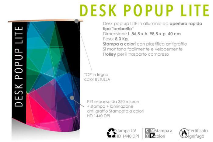 desk pop up lite in allumino con top in legno e stampa personalizzata su PET da 6 micron e laminazione anti graffio