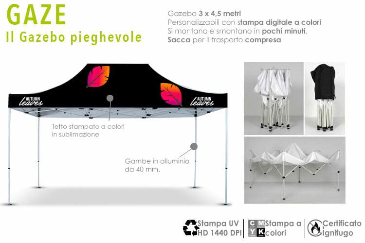 gazebo personalizzato con stampa a colori 3x4,5 metri