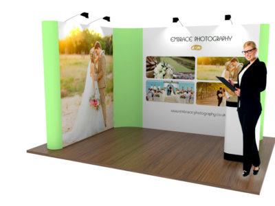Isole promozionali composta da 2 pop up stand e desk trolley