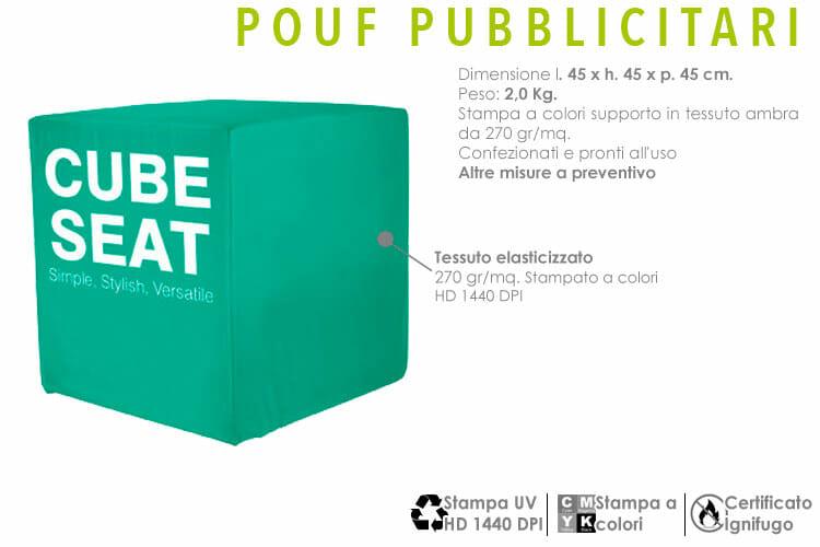 pouf pubblicitari con stampa in tessuto elasticizzato a sublimazione