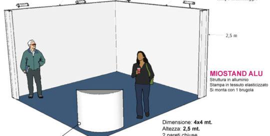 stand 4x4 altezza 2,5 mt con stampa personalizzata da montare e smontare anche da soli
