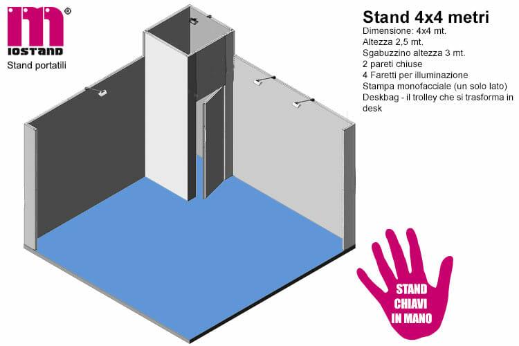 stand 4x4 con sgabuzzino a forma di torretta