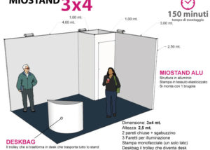 stand 3x4 altezza 2,5 mt con stampa personalizzata da montare e smontare anche da soli