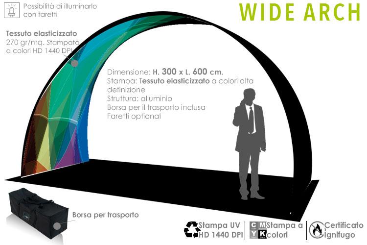 Wide Arch la galleria pubblicitaria in tessuto elasticizzato e struttura in alluminio