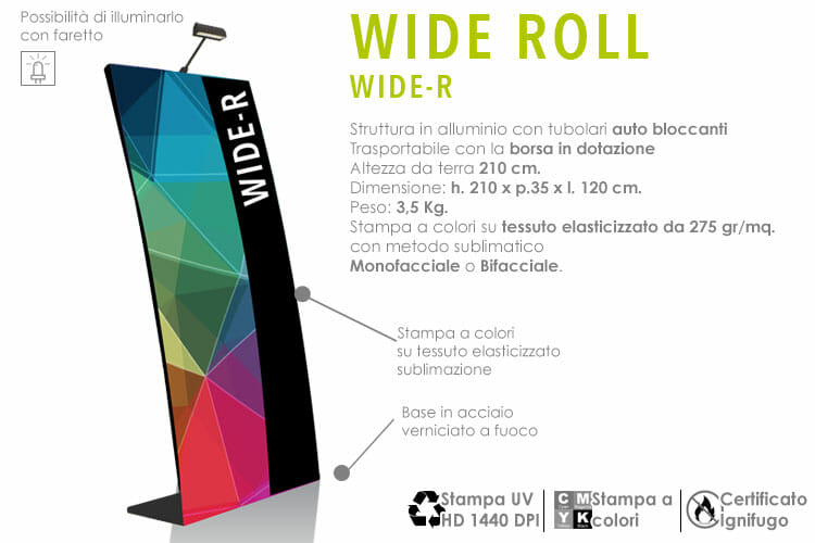 wide roll up con stampa in tessuto elasticizzato a colori